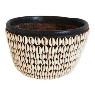 Vintage Nigerian Cowry Shell Basket