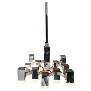 Sciolari Chandelier with 13 Multi-Level Metal and Lucite Lights, Italy, 1970s