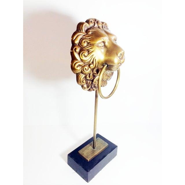 Vintage Lion Head Doorknocker on Wood Stand - Image 5 of 5