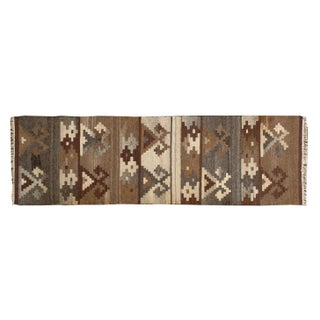 Brown Geometric 2 x 7 Multicolor Kilim Runner