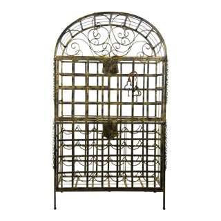 Vintage Locking Gold Wrought Iron Bar and Wine Rack
