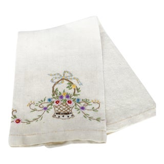 Antique Embroidered Natural Linen Guest Towel