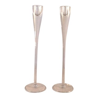 Vintage Blown Glass Candle Holders - Pair