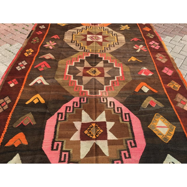 Vintage Turkish Kilim Rug - 6′4″ × 12′ - Image 4 of 10
