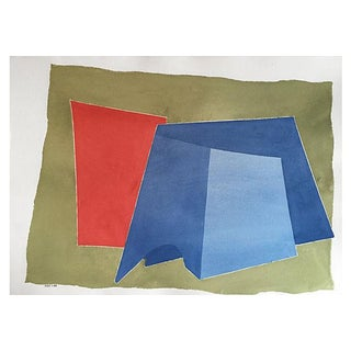 Vintage Abstract Watercolor by R. Stokes 1983