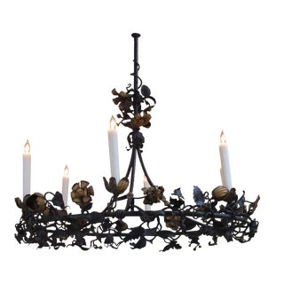 Faniciful Belgian Six-Light Iron Chandelier with Floral and Foliate Vine