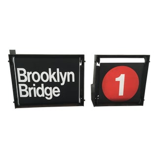 Vintage NYC Subway Directional Scroll Signs