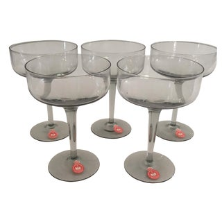 Holmegaard Danish Smoked Stem Glasses - Set of 5