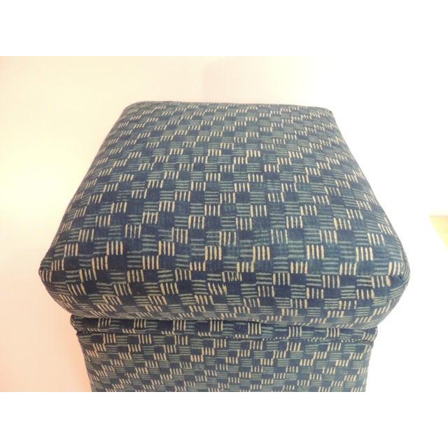 Vintage Stools Covered in Vintage Batik Indigo Textile - A Pair - Image 4 of 6