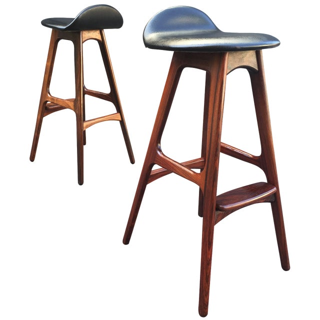 Erik buch rosewood bar stools a pair chairish - Erik buch bar stool ...