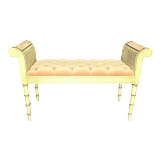 Vintage French Provincial Tufted Velvet Caned Bench
