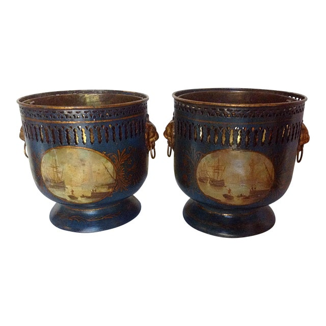 Painted Tole Pierced Jardiniere Planters A Pair Chairish