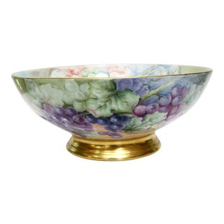 Antique Hand Painted Grape Motif French Limoges Punch Bowl