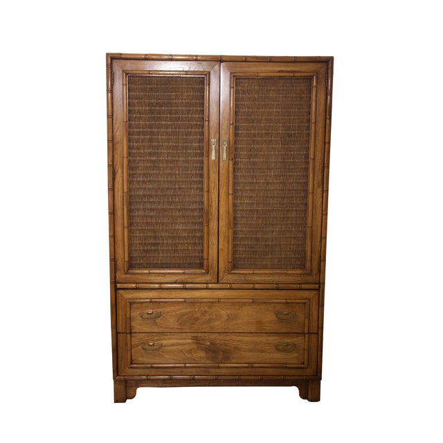 Mid-Century Faux-Bamboo Armoire by Lane Furniture - Image 1 of 8