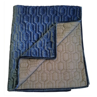 Quilted Blue Velvet Bed Shawl