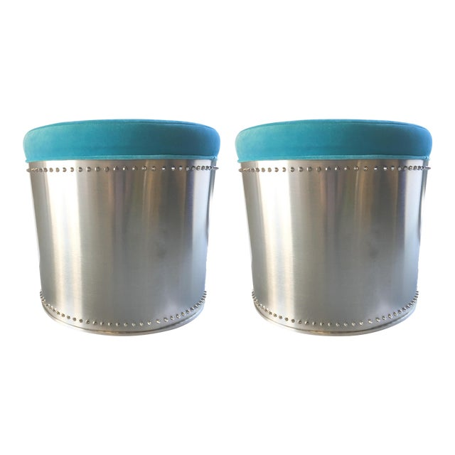 Rivet Stools with Turquoise Velvet Tops - A Pair - Image 1 of 4
