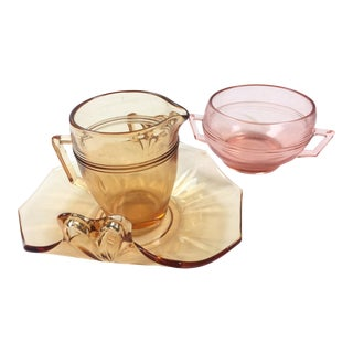 Vintage Depression Glass Coffee Set