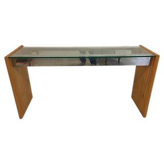 Milo Baughman Wood & Chrome Console Table