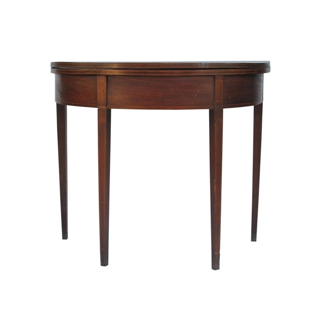 Sheraton-Style Demilune Rosewood Game Table - Image 1 of 11