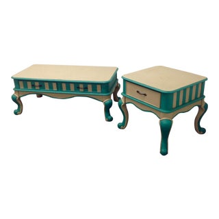 Mid-Century Turquoise & White Tables - A Pair