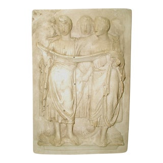 Neoclassical Italian Plaster Plaque Early 1900's