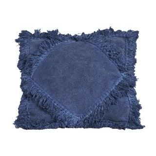 Indigo Diamond Fringe Pillow