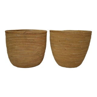 Tall Vintage Native American Pima Baskets - a Pair