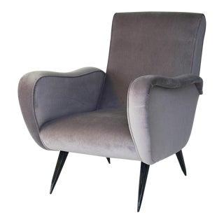 Mid-Century Italian Velvet Armchair