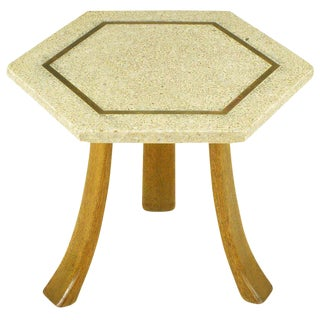Harvey Probber Hexagonal Mahogany & Terrazzo Marble Side Table