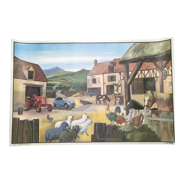 "Vintage French School Two-Sided Poster - ""La Ferme/La Gare"" - Image 1 of 3"