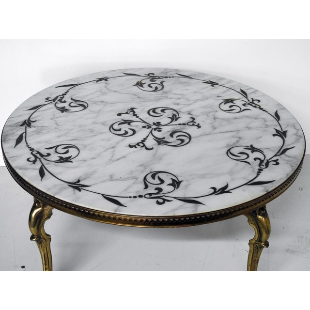 Modern French Coffee Table: French Modern Marble & Brass Coffee Table