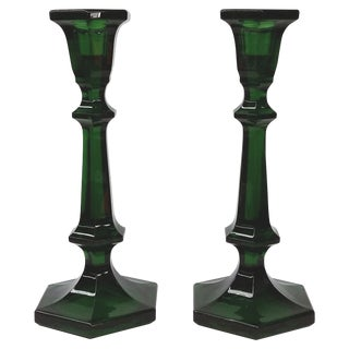 Heavy Green Tall Glass Candle Holders - Pair