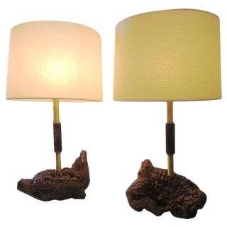 Mid-Century Brass And Burled Wood Lamps, Pair