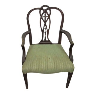 Wood Arm Chair With Green Fabric