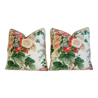 Desginer Lee Jofa Hollyhock Spring Floral Pillows - Pair