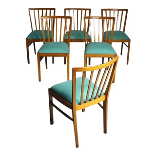 Mid-Century Walnut Slat Back Dining Chairs - Set of 6