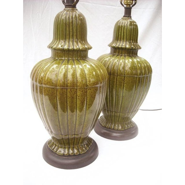 Hollywood Regency Ginger Jar Green Lamps - Pair - Image 3 of 8