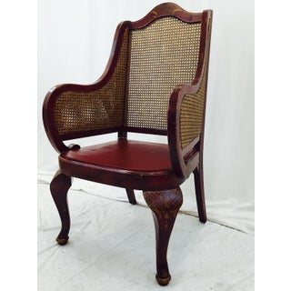 Vintage Wingback Arm Chair with Cane Detail