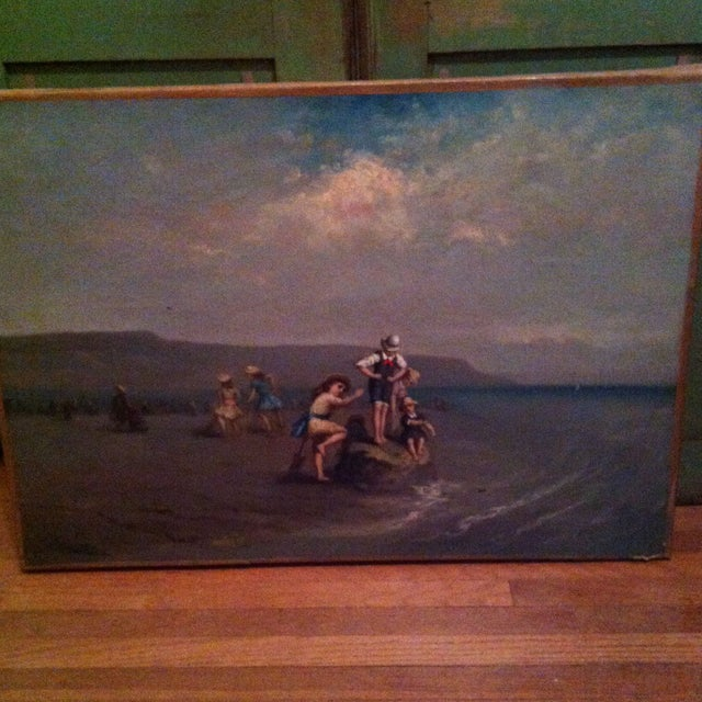 Antique French Painting Of Children On The Beach - Image 2 of 7