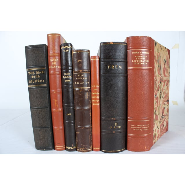 Image of Decorative Leather Books - Set of 7