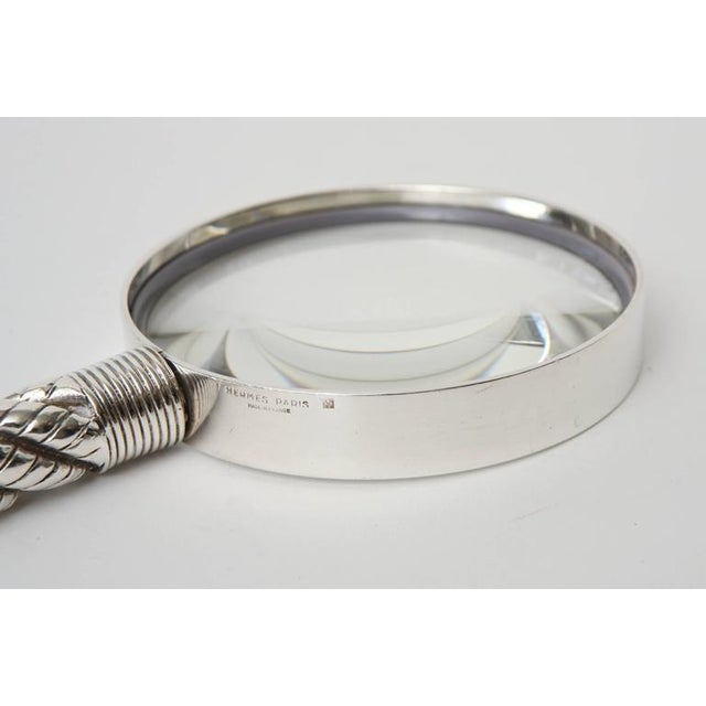 Hermes Vintage Silver-Plate Twisted& Braided Rope Magnifier/ Desk Magnifier - Image 9 of 11