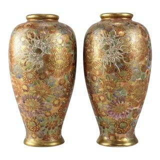 Circa 1900s Japanese Satsuma Hand Painted Porcelain Vases - A Pair