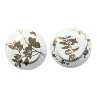 Vintage Gold and White Porcelain Plates - Pair