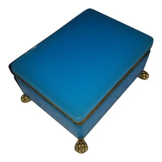 Turquoise Blue Opaline Jewel Chest