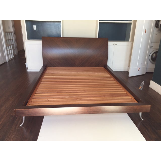 African Walnut With Matte Chrome Leg Queen Bed - Image 3 of 11
