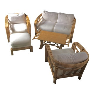 Rattan Bamboo Living Room Sofa & Chair Set - Set of 5