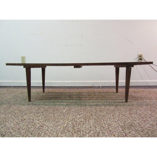 Danish Modern Walnut Slat Bench Coffee Table - Image 11 of 11