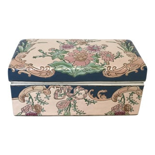 Chinese Hand-Painted Porcelain Lotus Box