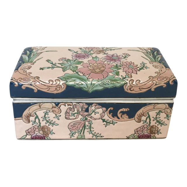 Chinese Hand-Painted Porcelain Lotus Box - Image 1 of 5