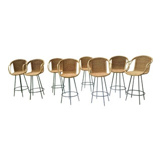 Mid-Century Danny Ho Fong Inspired Rattan Bar Stools - Set of 8